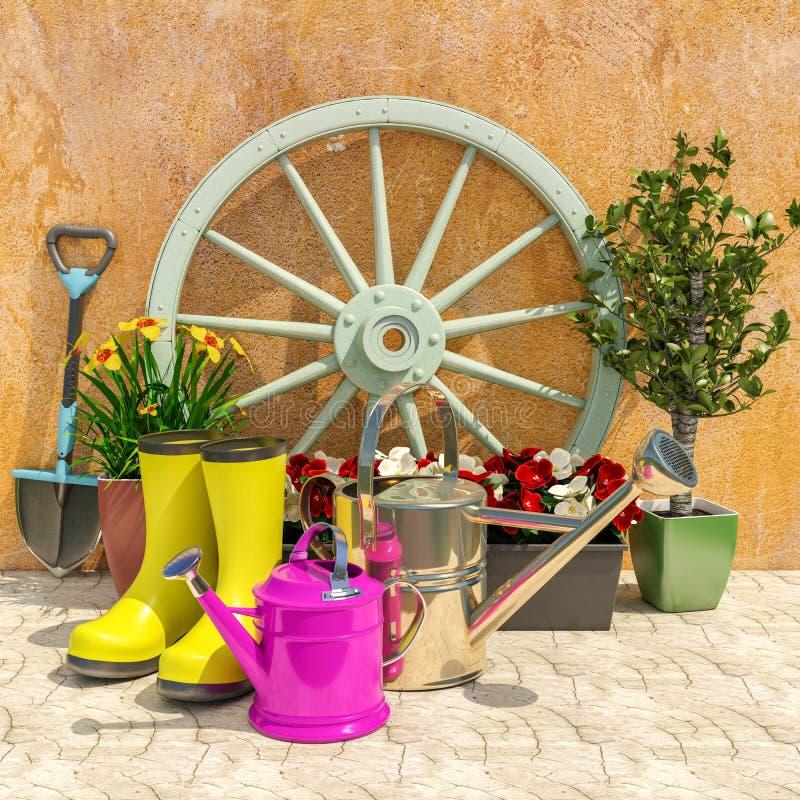 El jardín de la primavera trabaja concepto imagenes de archivo