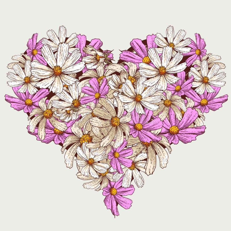 El jardín de la tarjeta del día de San Valentín del verano florece el corazón stock de ilustración