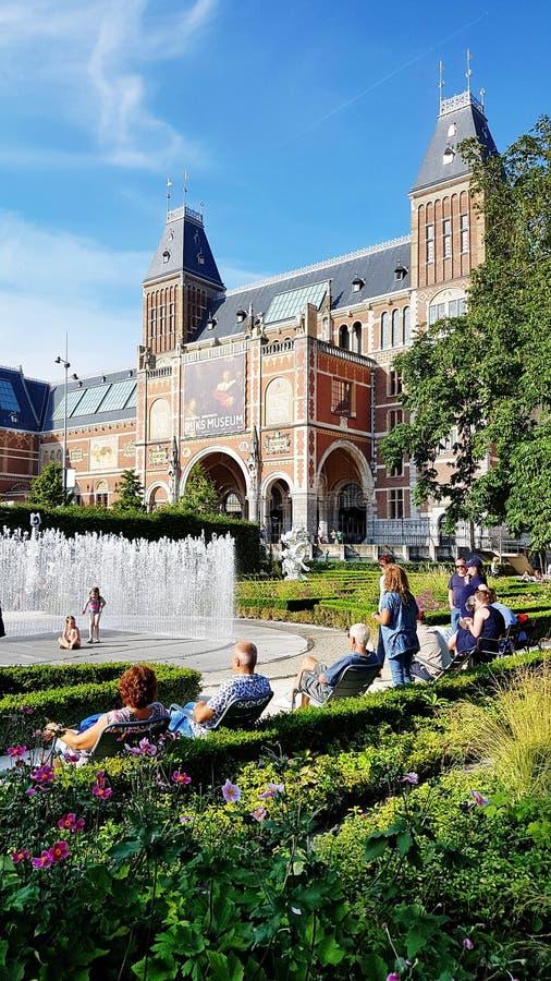 El jardín de Rijksmuseum, Amsterdam imagen de archivo