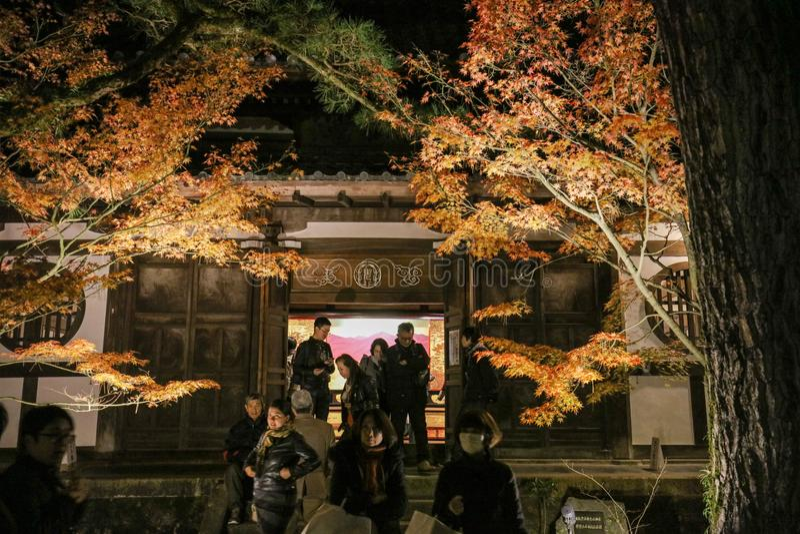 El jardín en la noche Kyoto del templo de Eikando fotografía de archivo