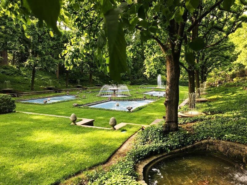 El jardín italiano del agua en los jardines de Longwood foto de archivo