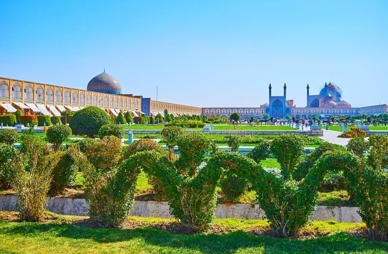 El jardín ornamental en el cuadrado de Naqsh-e Jahan, Isfahán, Irán foto de archivo