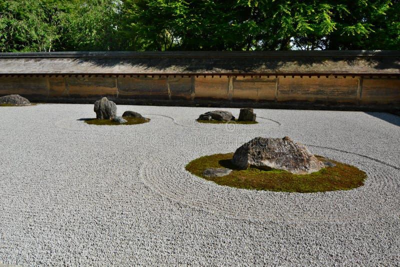 El jardín seco, detalle Templo del zen de Ryoan-ji kyoto japón foto de archivo libre de regalías