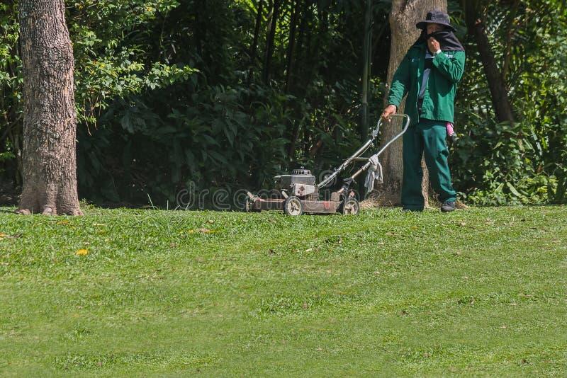 El jardinero está utilizando un cortacésped foto de archivo