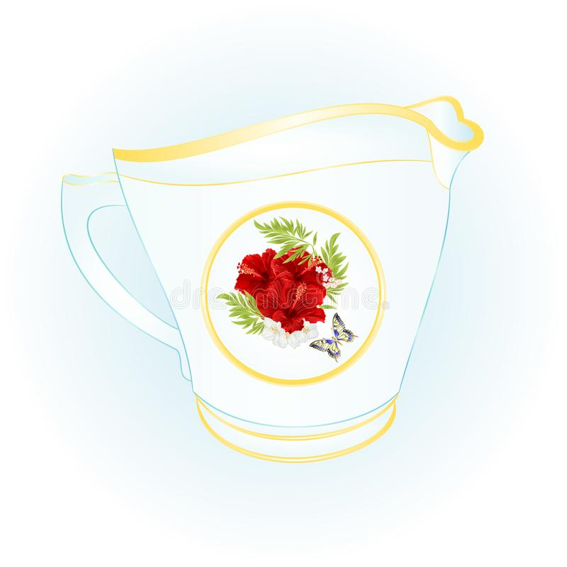 El jarro de leche de vintage rojo del hibisco y de la mariposa de la porcelana vector el ejemplo editable stock de ilustración