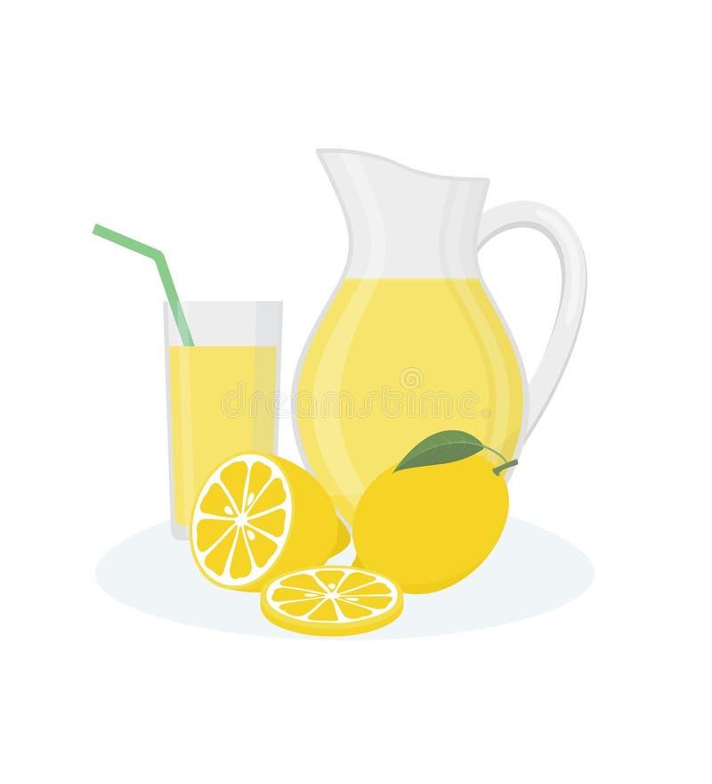 El jarro, el vidrio de limonada y el limón da fruto en el fondo blanco ilustración del vector