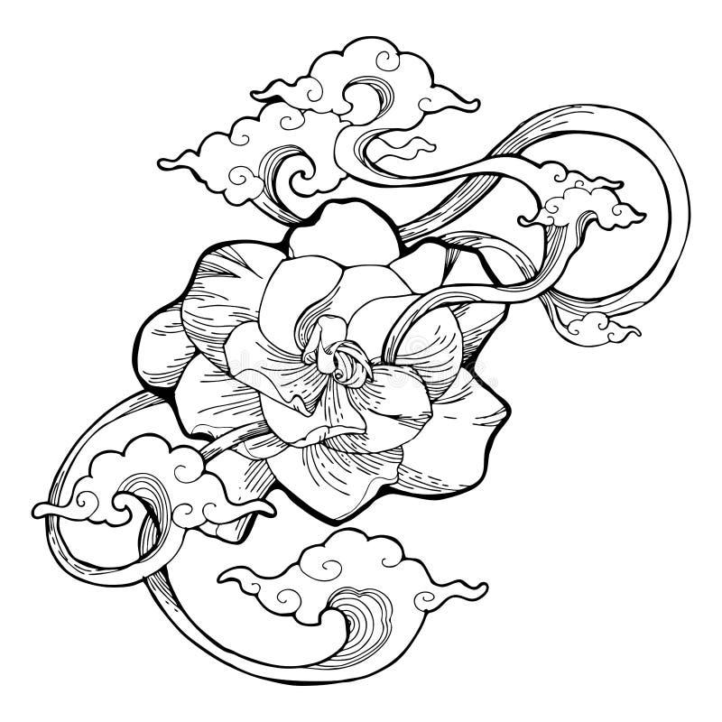 El jazmín de cabo, el jazmín de la gardenia y la nube del aroma diseñan por el tatuaje del dibujo de la tinta con el fondo aislad stock de ilustración