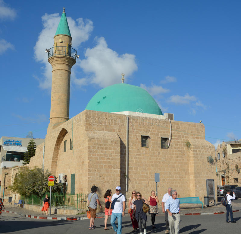 El-Jazzar Mosque. ACRE ISRAEL 01 11 16: El-Jazzar Mosque also known as the White Mosque, is named after the Ottoman Bosnian governor Ahmad Pasha el-Jazzar `the royalty free stock images