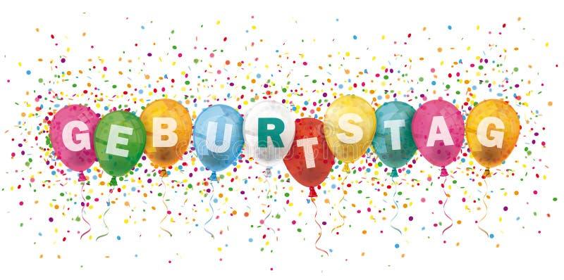 El jefe de Geburtstag coloreado hincha la explosión del confeti stock de ilustración