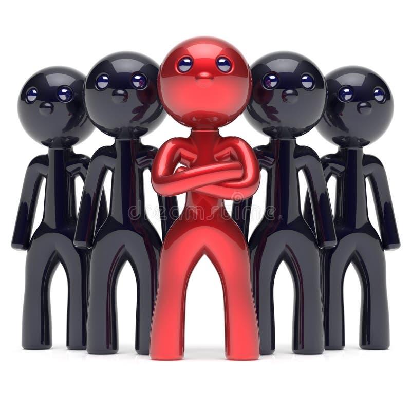 El jefe de la dirección del trabajo en equipo estilizó el icono rojo del líder del carácter libre illustration