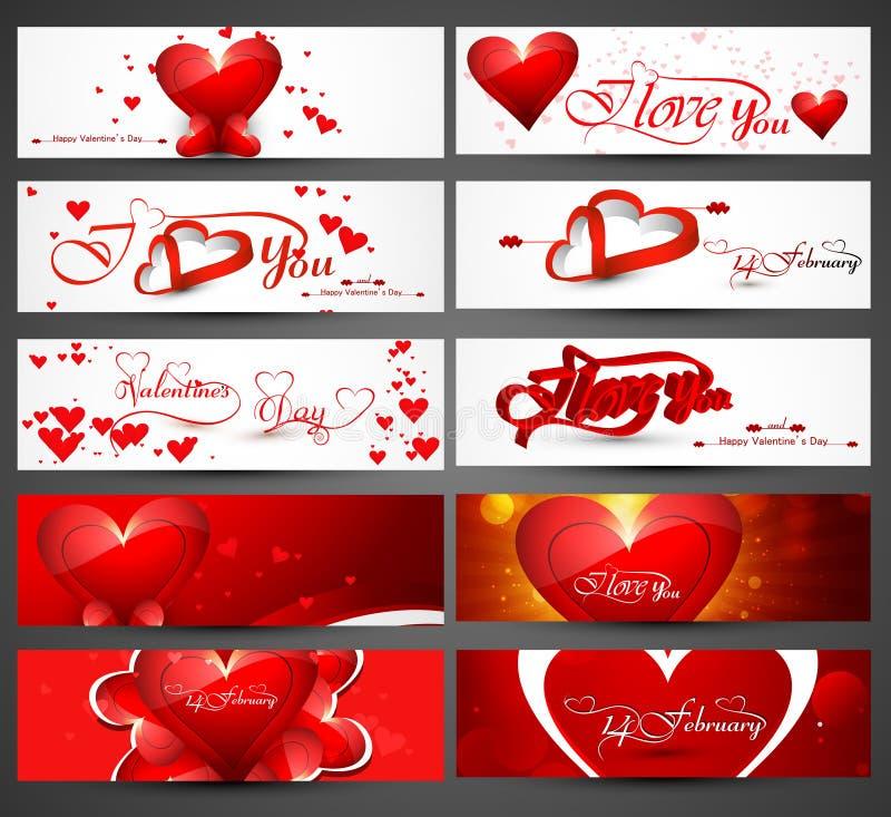 El jefe hermoso colorido para las banderas del día de tarjeta del día de San Valentín diseña libre illustration