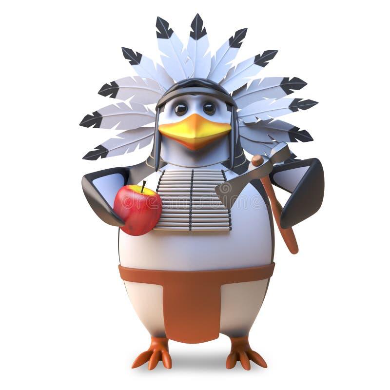 El jefe indio del pingüino del nativo americano hambriento taja una manzana con su hacha, ejemplo 3d stock de ilustración