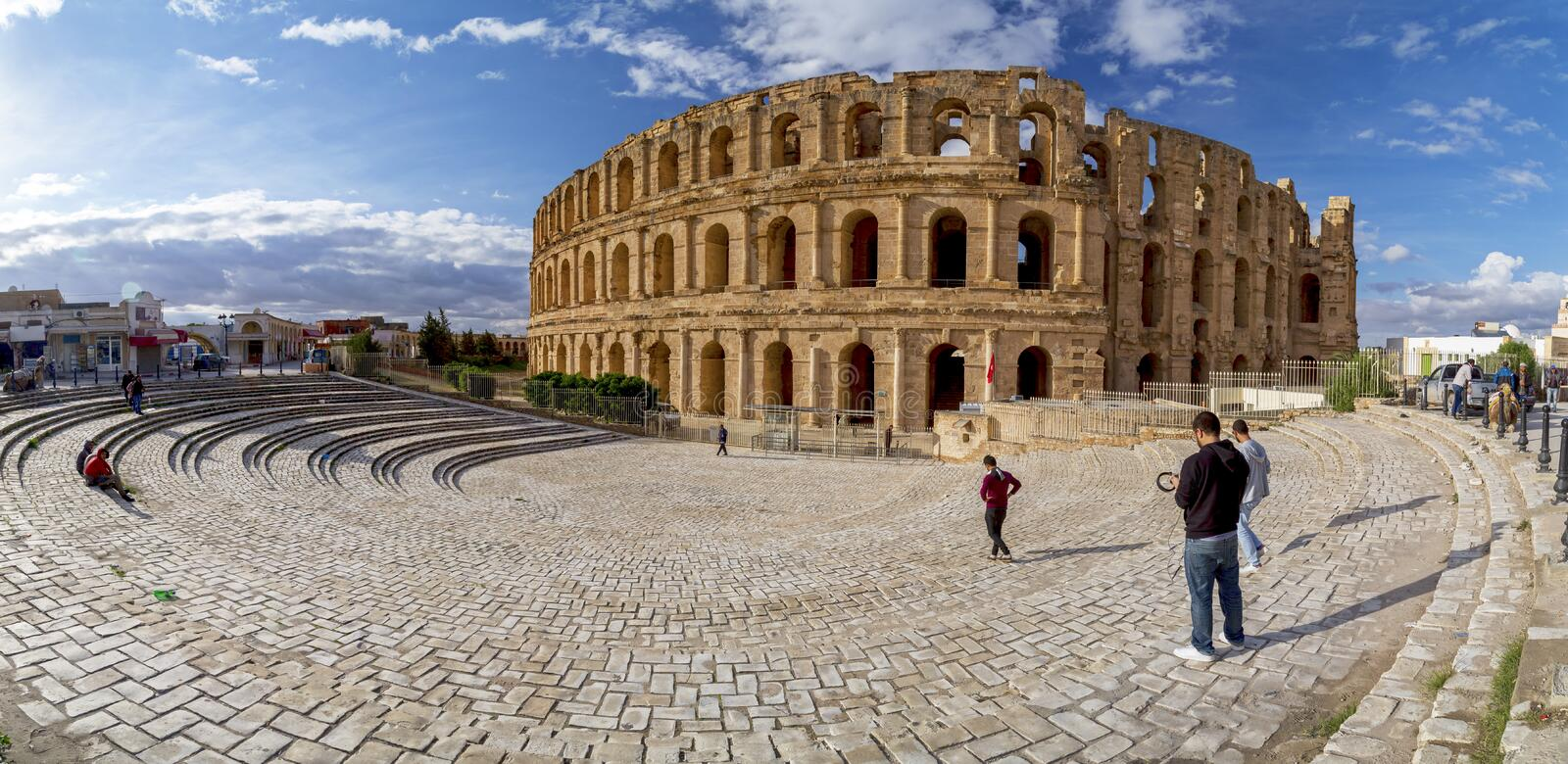 El Jem, Tunisia. El Djem, Tunisia - December 25,2016: The Roman amphitheater of Thysdrus in El Djem or El-Jem, a town in Mahdia governorate of Tunisia.The royalty free stock photography