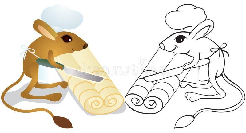 El jerboa del cocinero desenrolla la pasta stock de ilustración