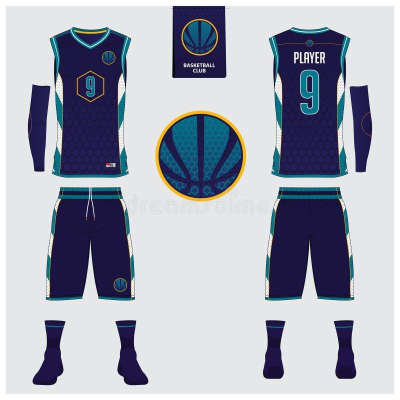 El jersey del baloncesto, pantalones cortos, pega la plantilla para el club del baloncesto Uniforme delantero y trasero del depor ilustración del vector