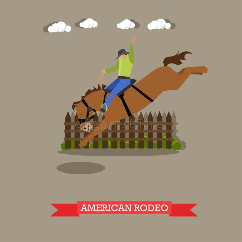 El jinete de rodeo americano intenta el caballo de la doma libre illustration