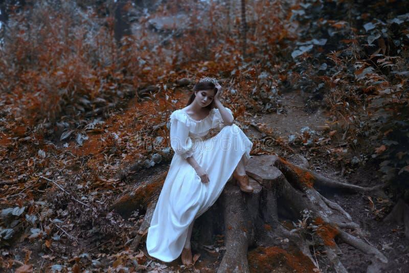 El joven, una princesa con el pelo muy largo se sienta en un tocón grande como de la cubierta de Vogue Brutal esperar un milagro imágenes de archivo libres de regalías