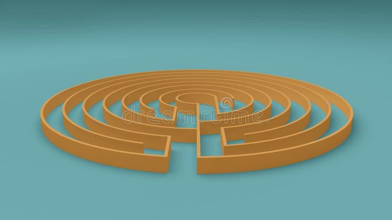 El juego amarillo y azul redondo del laberinto del laberinto con la entrada y la salida, encuentra el concepto de la manera, idea libre illustration