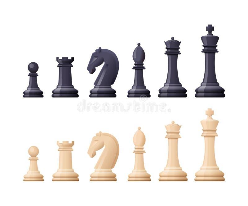 El juego de ajedrez negro, blanco junta las piezas, figura Táctico lógico stock de ilustración