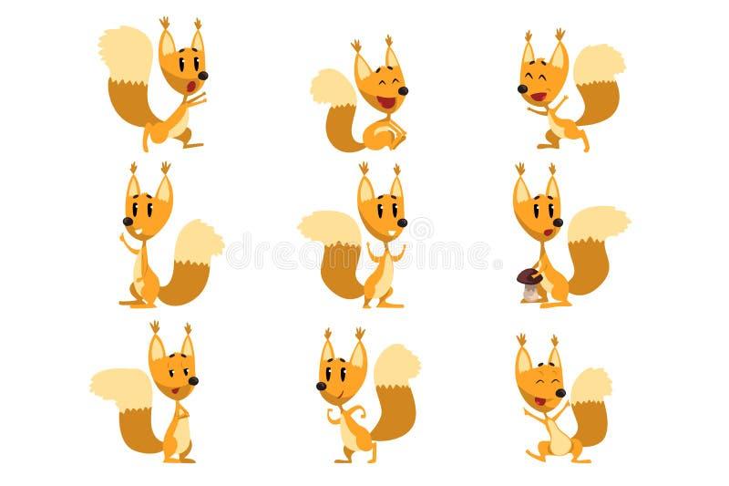 El juego de caracteres divertido de la historieta de la ardilla, el animal lindo del bosque con diversas acciones y las emociones ilustración del vector