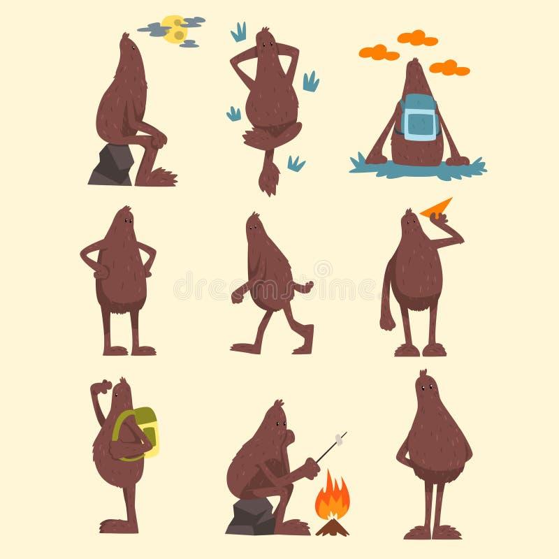 El juego de caracteres de la historieta de Bigfoot, criatura mítica divertida en diversas situaciones vector ejemplos en un blanc stock de ilustración