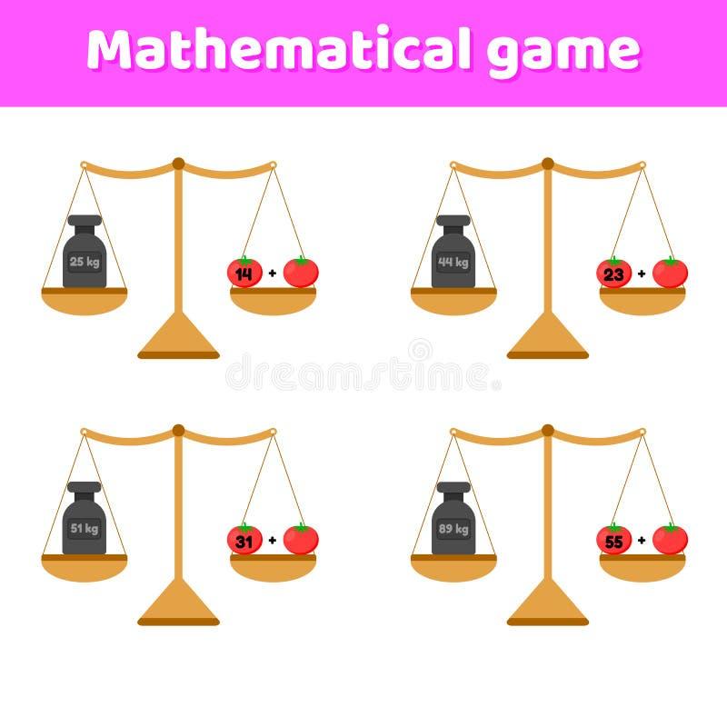 El juego de la matemáticas para los niños de la escuela y el preescolar envejecen Escalas y pesos adición Tomates de las verduras ilustración del vector