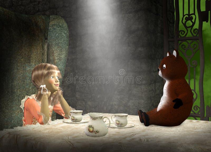 El juego de la muchacha, fiesta del té, hace para creer libre illustration