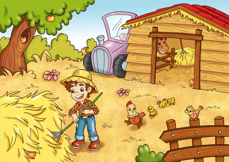 El juego de las 7 manzanas ocultadas en granja ilustración del vector