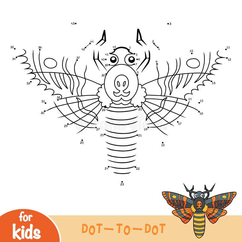 El juego de números, puntea para puntear el juego para los niños, hawkmoth principal de muertes stock de ilustración