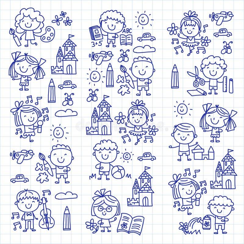 El juego de niños del estudio de la educación escolar de la guardería y crece a los niños que dibujan iconos ilustración del vector
