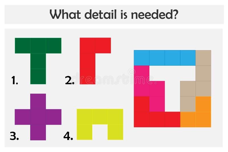 El juego del rompecabezas con los detalles coloridos para los niños, elige el detalle necesario, nivel fácil, juego para los niño ilustración del vector