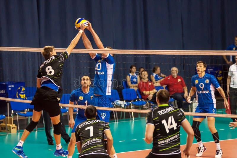 El juego del voleibol, foto de archivo