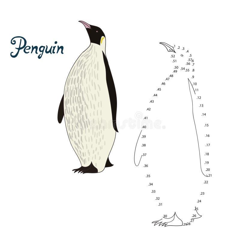 El juego educativo conecta el pájaro del pingüino del drenaje de los puntos libre illustration