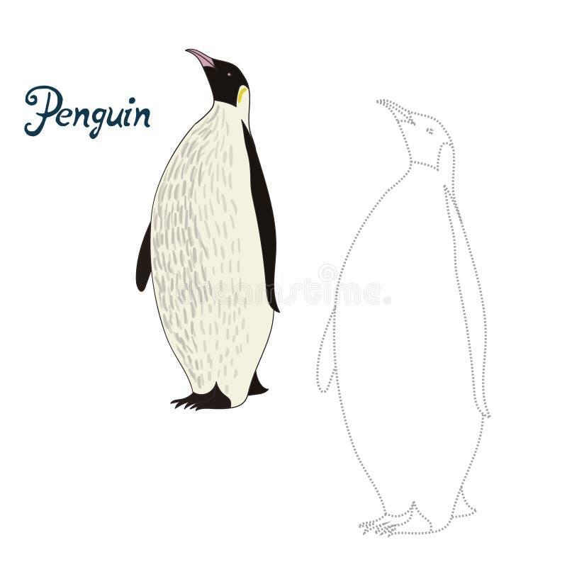 El juego educativo conecta puntos con el pájaro del pingüino del drenaje stock de ilustración