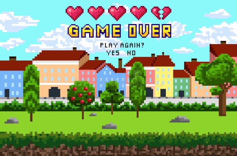 El juego sobre el pixel es diseño con paisaje de la ciudad, cielo y árboles P ilustración del vector