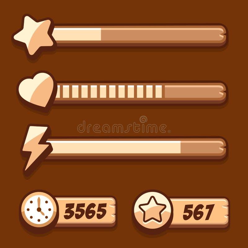 El juego swooden los iconos de la barra de progreso del tiempo de la energía fijados stock de ilustración