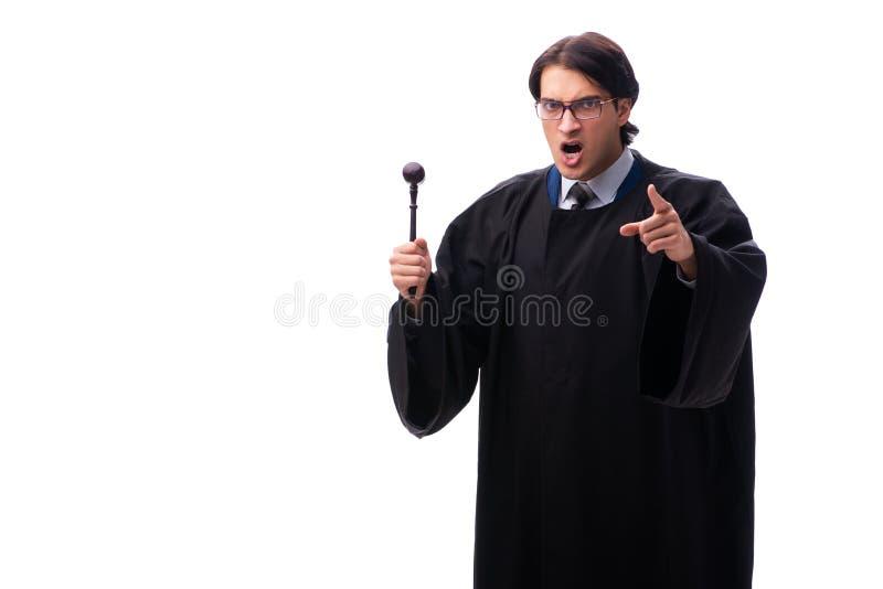 El juez hermoso joven aislado en blanco fotos de archivo