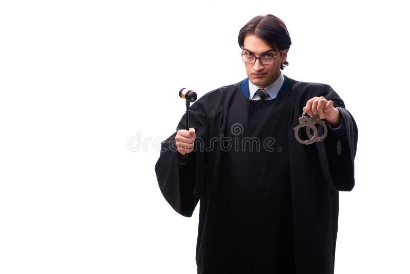 El juez hermoso joven aislado en blanco foto de archivo