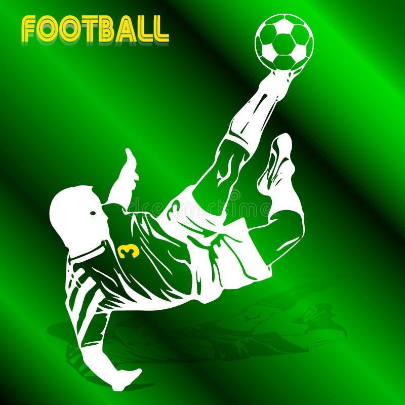 El jugador de fútbol en un salto bate la bola con su pie, silh blanco ilustración del vector