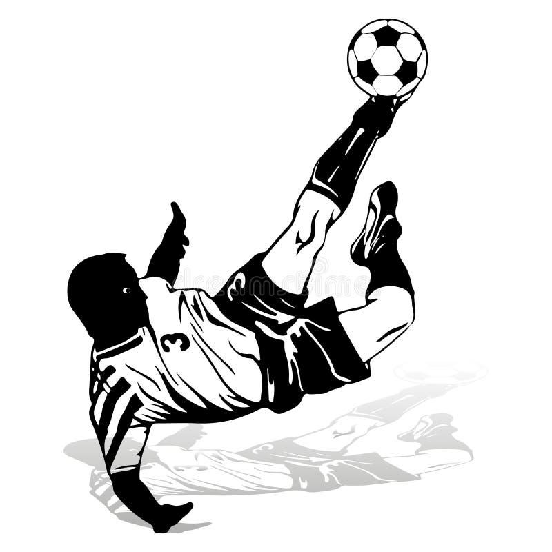 El jugador de fútbol en un salto bate la bola con su pie, silueta stock de ilustración