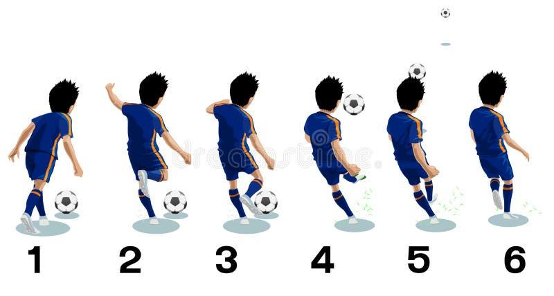 El jugador de fútbol golpea la bola con el pie (fútbol) - ejemplo del vector imagen de archivo libre de regalías