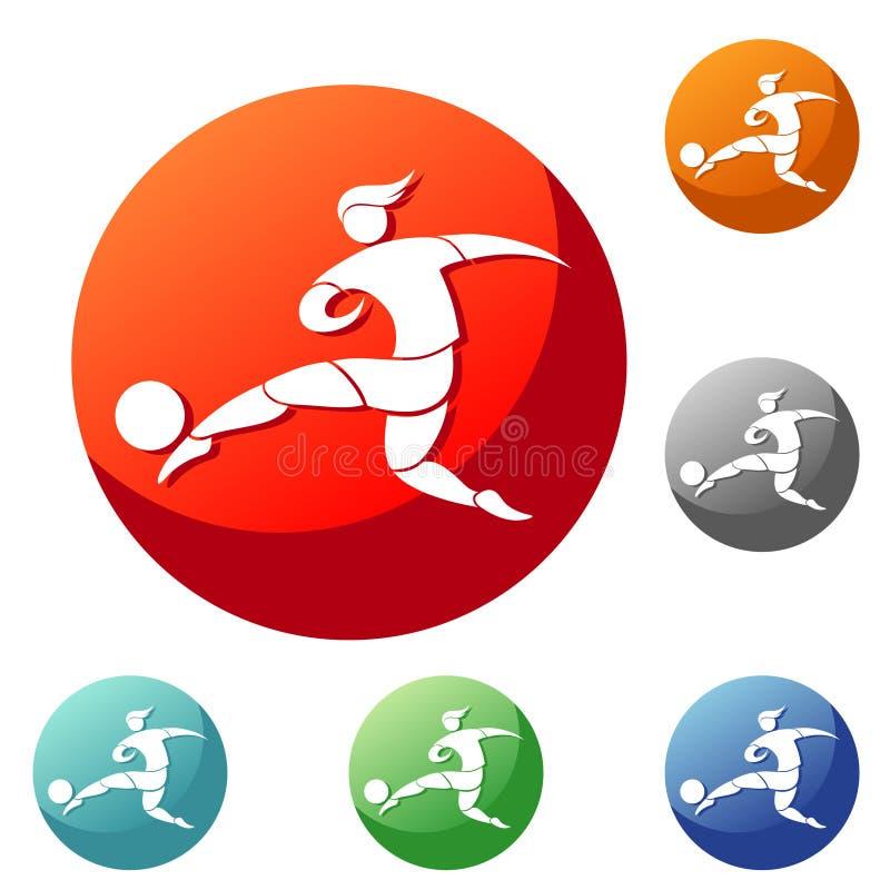 El jugador de fútbol golpea la bola con el pie Icono en el círculo ilustración del vector