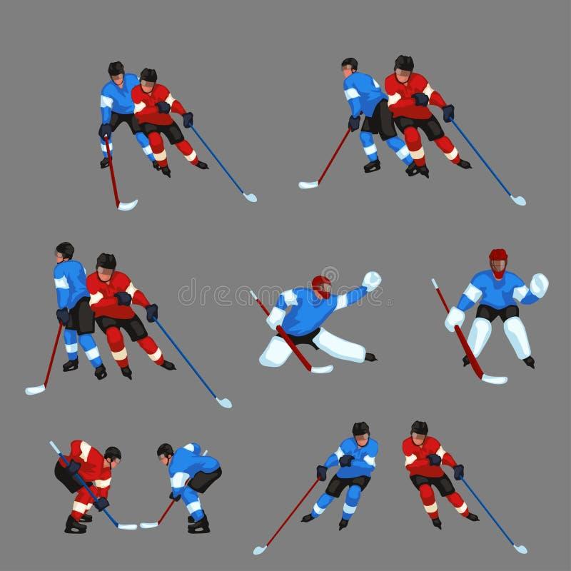 El jugador de hockey coloreado fijó 5 stock de ilustración