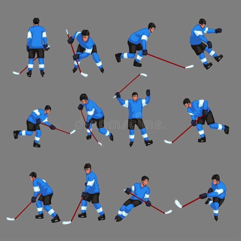 El jugador de hockey coloreado fijó 2 ilustración del vector