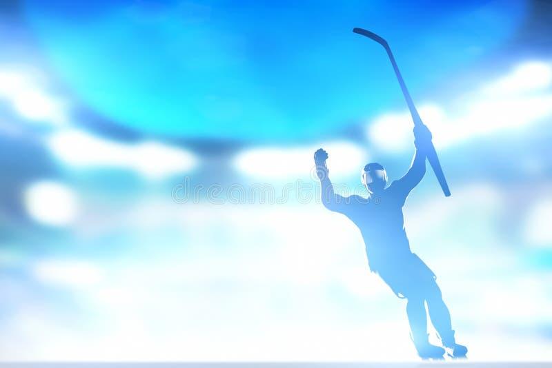 El jugador de hockey que celebra la meta, victoria con las manos y se pega para arriba foto de archivo libre de regalías