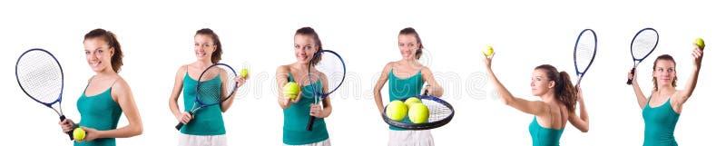 El jugador de tenis de la mujer aislado en blanco foto de archivo