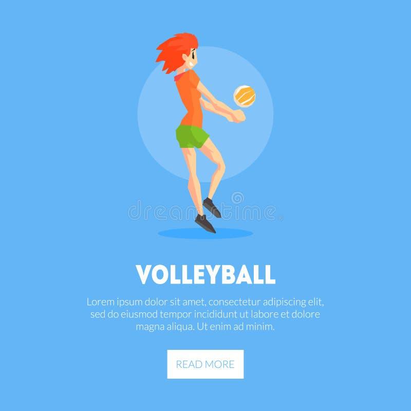 El jugador de voleibol femenino con la plantilla de BallBanner, elemento del diseño puede ser utilizado para aterrizar la página, ilustración del vector