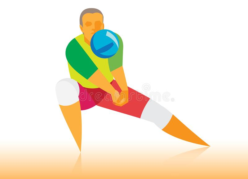 El jugador de voleibol toma una bola difícil ilustración del vector