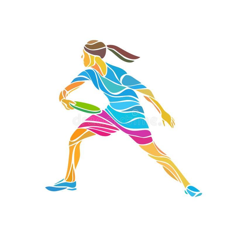 El jugador femenino está jugando el último disco volador, vector libre illustration