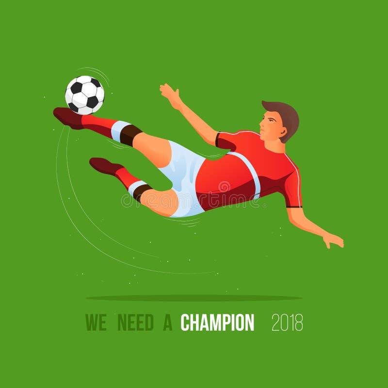 El jugador golpea la bola con el pie en vuelo campeonato 2018 del fútbol stock de ilustración
